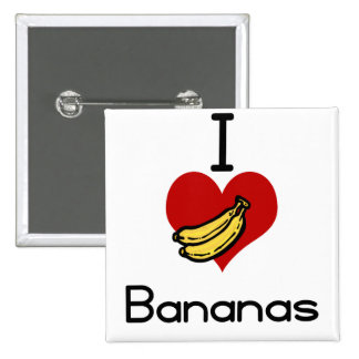 I love-heart bananas 15 cm square badge
