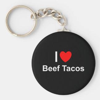 I Love Heart Beef Tacos Key Ring