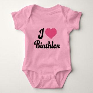 I Love (Heart) Biathlon Baby Bodysuit