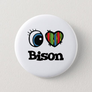 I Love (Heart) Bison 6 Cm Round Badge