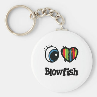 I Love (Heart) Blowfish Basic Round Button Key Ring