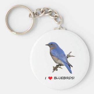 I Love (heart) Bluebirds Basic Round Button Key Ring