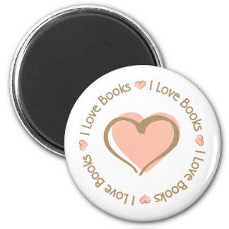 I Love Heart Books 6 Cm Round Magnet