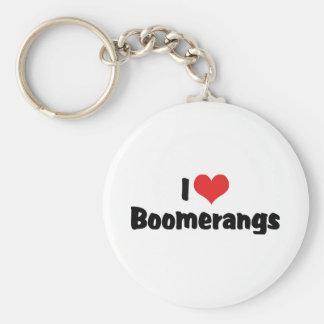 I Love Heart Boomerangs Key Ring