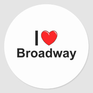 I Love Heart Broadway Classic Round Sticker
