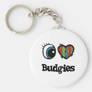I Love (Heart) Budgies Basic Round Button Key Ring