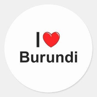 I Love Heart Burundi Classic Round Sticker