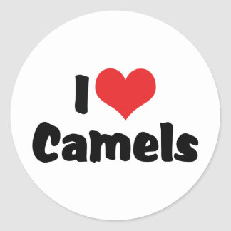 I Love Heart Camels Classic Round Sticker