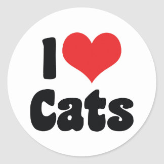 I Love Heart Cats - Cat Lover Round Sticker