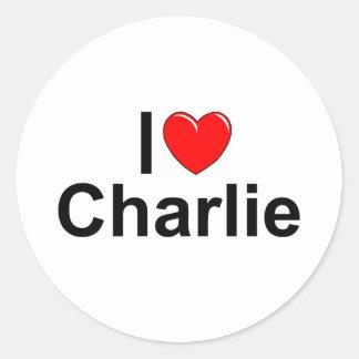 I Love (Heart) Charlie Classic Round Sticker