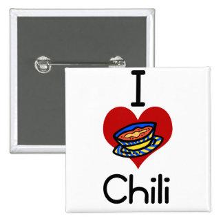 I love-heart chili 15 cm square badge