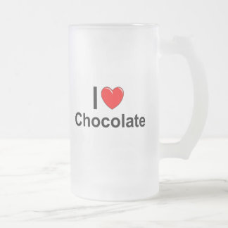I Love Heart Chocolate Frosted Glass Beer Mug