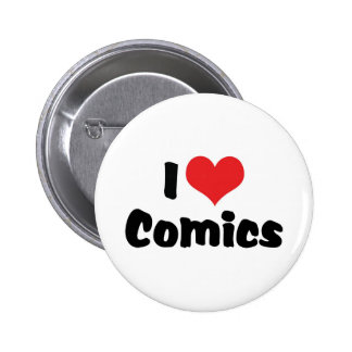 I Love Heart Comics - Comic Book Lover 6 Cm Round Badge