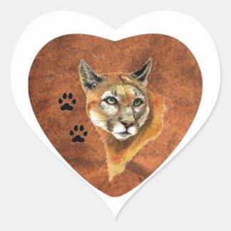 I Love, Heart, Cougar, Puma, Mountain Lion Animal Heart Sticker