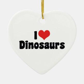 I Love Heart Dinosaurs - Dinosaur Fossil Hunter Ceramic Ornament