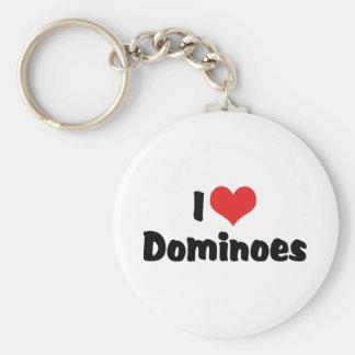 I Love Heart Dominoes Key Ring