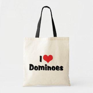 I Love Heart Dominoes Tote Bag