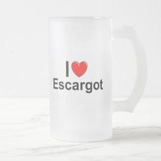 I Love Heart Escargot Frosted Glass Beer Mug