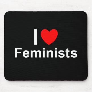 I Love Heart Feminists Mouse Pad