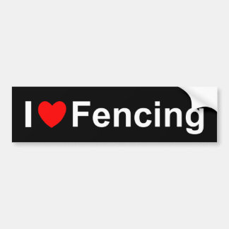 I Love Heart Fencing Bumper Sticker