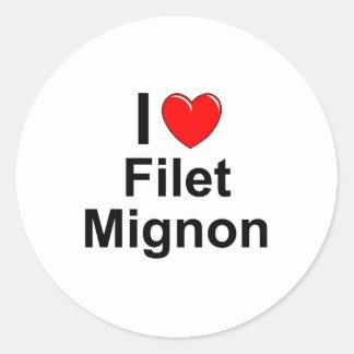 I Love Heart Filet Mignon Classic Round Sticker
