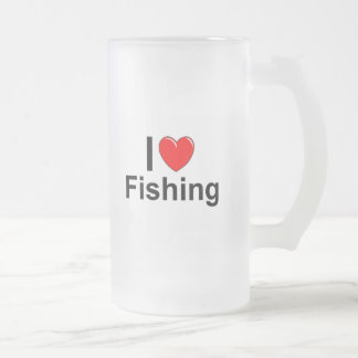 I Love Heart Fishing Frosted Glass Beer Mug