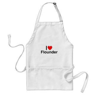 I Love Heart Flounder Standard Apron