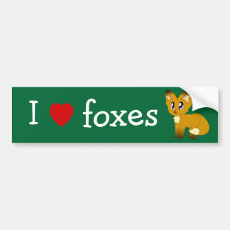 I Love/Heart Foxes Bumper Stickers