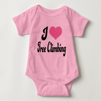 I Love (Heart) Free Climbing Baby Bodysuit