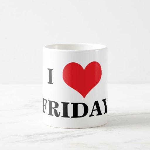 I love heart Friday coffe mug, gift idea Basic White Mug