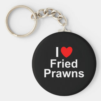 I Love Heart Fried Prawns Key Ring