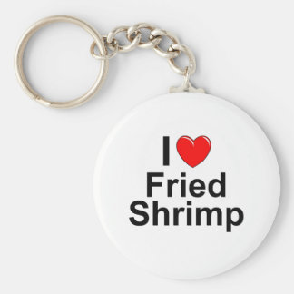 I Love Heart Fried Shrimp Key Ring
