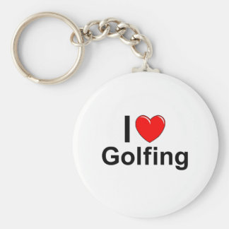 I Love Heart Golfing Key Ring