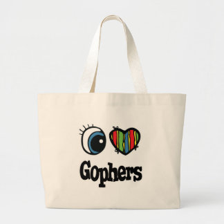 I Love (Heart) Gophers Large Tote Bag