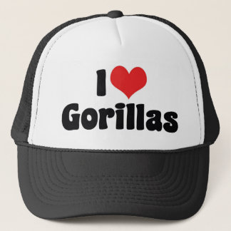 I Love Heart Gorillas - Gorilla Lover Trucker Hat