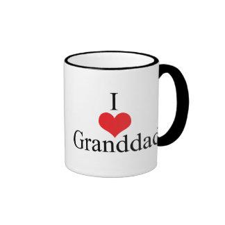 I Love (Heart) Granddad Ringer Mug