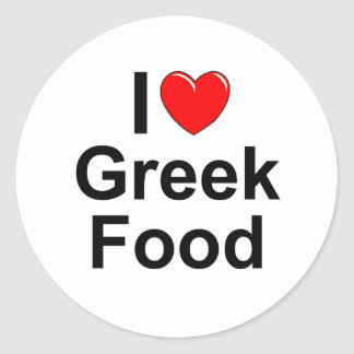 I Love (Heart) Greek Food Round Sticker