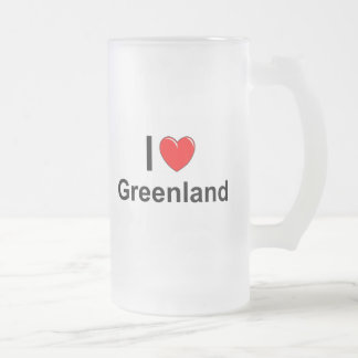 I Love Heart Greenland Frosted Glass Beer Mug