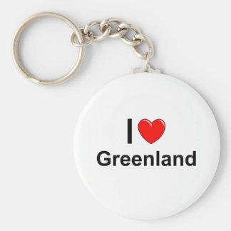 I Love Heart Greenland Key Ring