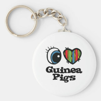I Love (Heart) Guinea pigs Basic Round Button Key Ring