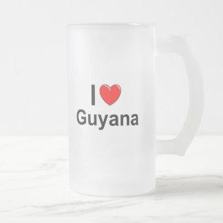 I Love Heart Guyana Frosted Glass Beer Mug