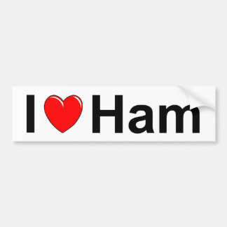 I Love Heart Ham Bumper Sticker