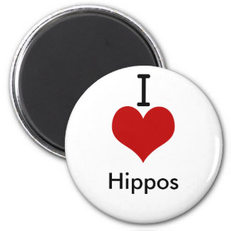 I Love (heart) Hippos Magnet