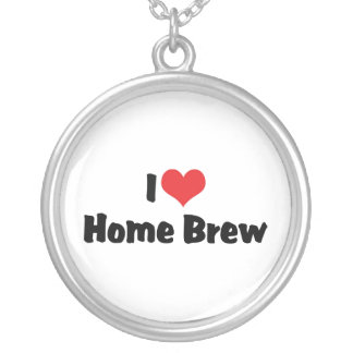 I Love Heart Home Brew - Beer Lover Round Pendant Necklace