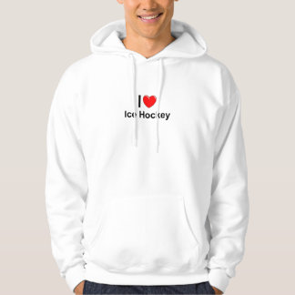 I Love Heart Ice Hockey Hoodie