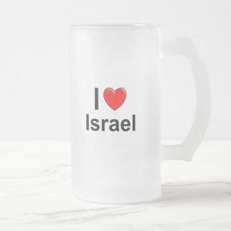 I Love Heart Israel Frosted Glass Beer Mug