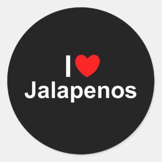 I Love (Heart) Jalapenos Classic Round Sticker