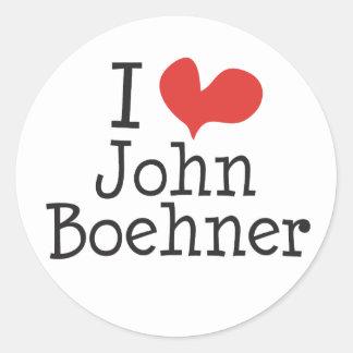 I Love (heart) John Boehner Round Sticker
