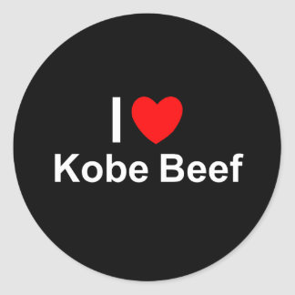 I Love Heart Kobe Beef Classic Round Sticker