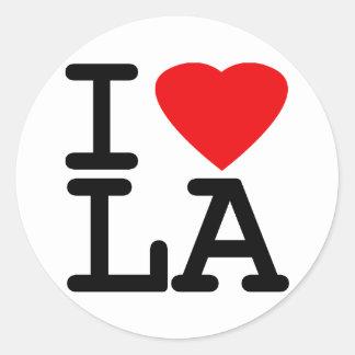 I Love Heart LA Round Sticker